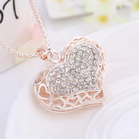 Shiny Jewelry New Arrival Gift Korean Hollow Out Alloy Costume Stylish Accessory Love Sweater Chain Necklace [6049397825]