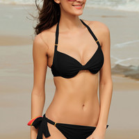 Ruched Push Up Padded Black Bikini