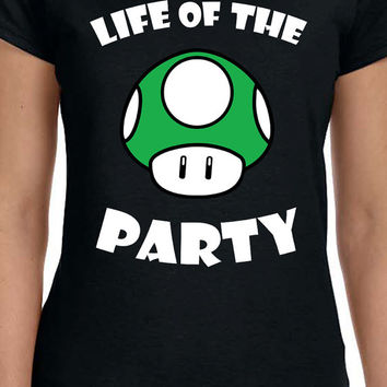 Life Of The Party Cool Mario Green Life Up Mushroom Unisex T-Shirt