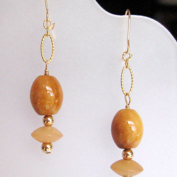 Golden Jade Ovals Earrings With Buri Beads Gold Filled Oval Chain Link Kidney Style Earwires