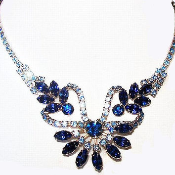 "Juliana Blue Rhinestone Necklace D&E Confirmed Bib Style Silver Metal J Hook 16"" Vintage"