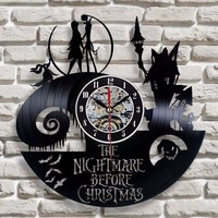 Nightmare Before Christmas Jack and Sally Vinyl Record Clock