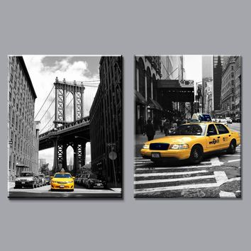 modern black and white yellow taxi canvas painting prints new york city on wall art pictures home decor for living room