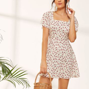 Ditsy Floral Square Neck Sundress