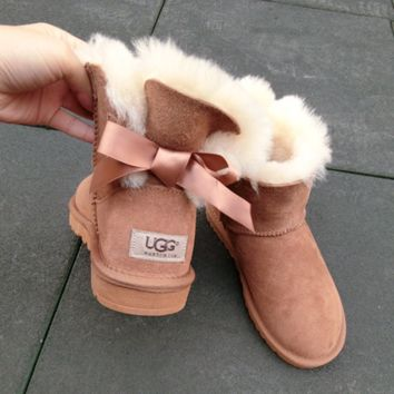 """UGG"" Women male Fashion Wool Snow Boots side edge bowknot Chestnut"