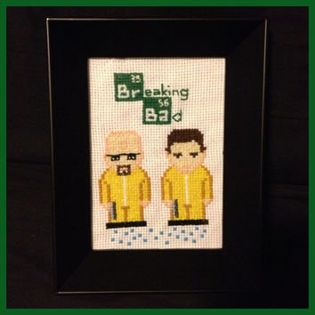 Breaking Bad Cross Stitch Framed by K8BitHero on Etsy