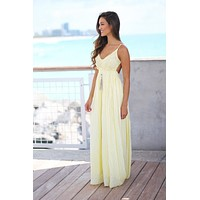 Yellow Lace Maxi Dress with Open Back and Frayed Hem