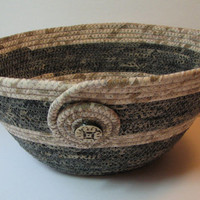 Coiled Fabric Basket, Coiled Fabric Bowl, decorative bowl, dark grey/taupe