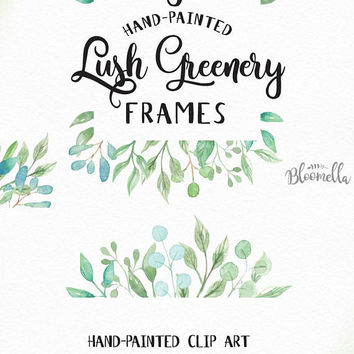 6 Watercolour Lush greenery Leaf Frame Clipart - Wild Hand Painted Spring INSTANT DOWNLOAD PNGs Wild Eucalyptus Leaves Digital Art Garlands