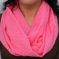 Circle Scarf. Pink Infinity Scarf.Tube Scarf. Eternity Scarf. Women Accessories