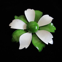 Vintage Enamel 70s Floral Brooch Green White Flower 1970s Daisy Pin