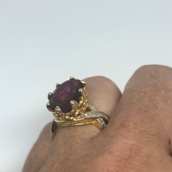 Vintage Bohemian Garnet White Sapphire  925 Sterling Silver Gold Rhodium Finish Ring