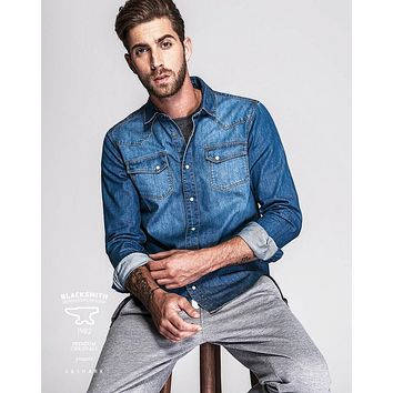 Men Casual Cotton Denim Blue Jeans Long Sleeve Collar Shirt
