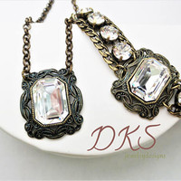 Swarovski Vintage Look Pendant, Bracelet Set, Antique Brass, 18X13 Crystal, Statement, Stunning, DKSJewelrydesigns, FREE SHIPPING