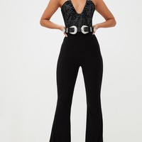 Black Velvet Disco Sparkle Thong Bodysuit