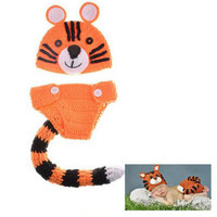 Prrrrfect Tiger Crochet Set Costume Newborn Infant Photography Prop