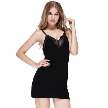 Women Sexy Lace Patchwork Nightgown Fashion Deep V-Neck Nightdress Lingerie Cotton Modal Ladies G-String Nightwear Night Dress