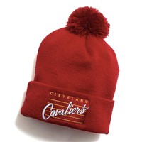 Cleveland Cavaliers Cursive Script Pom Beanie Red