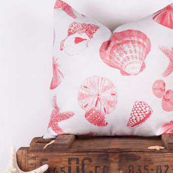 20% OFF Decorative Throw Pillows. ONE 16x16 Inch. Coral Seashell Cushion.  Pillows