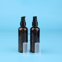 3pcs/Lot High Quality 100ml Amber Lotion Pumb Bottle for Water Empty PET Spray Cosmetic Container Refillable Pot Makeup Can