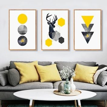 SURE LIFE Abstract Geometric Triangles Deer Poster Canvas Printings Wall Art Paintings Pictures for Living Room Home Decorations