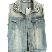 Washed Denim Tank with Raw Edge and Stitched Diamante Collar