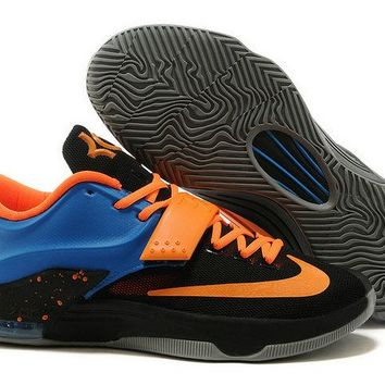 Spring Summer 2018 Factory Authentic KD 7 VII ID OKC Away Black Photo Blue Total Orange Brand sneaker