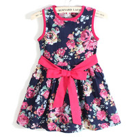 Floral Bow Kids Casual Dress