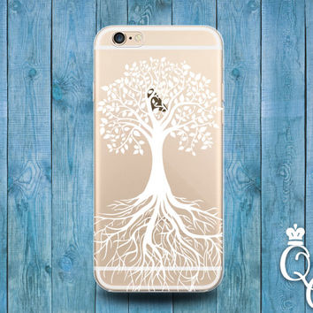 iPhone 4 4s 5 5s 5c SE 6 6s 7 plus iPod Touch 4th 5th 6th Gen Clear Cover Custom White Transparent Tree of Life Apple Cool Hip Phone Case