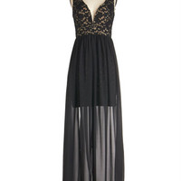 ModCloth Long Sleeveless Maxi Taking the Plunge Dress