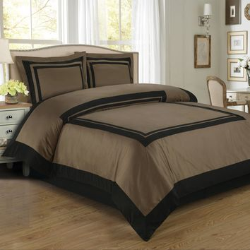 Hotel Taupe/Black Combed cotton Duvet Cover Set