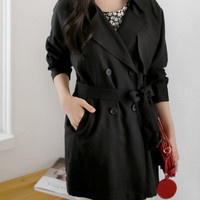 Black trench coat, women jacket, belt coat, blazer, outwear