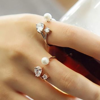 New Arrival Gift Shiny Jewelry Stylish Korean Pearls Crystal Adjustable Accessory Ring [6586143943]