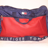 Vintage 90s Tommy Hilfiger Duffle Sport Travel Gym Bag Color Block Flag Spell out Retro Tommy Duffel