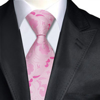 Ties Pink Floral Neck Tie 100% Silk Jacquard Ties For Men Business Wedding Party