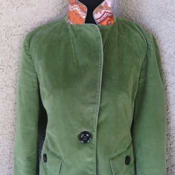 Talbot's green blazer - courdoray jacket - size 4 - boho mod hipster coat - one button front - small - early 90s vintage