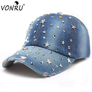 VONRU Brand New Denim Hats Fashion Leisure Woman Cap with Stars Rhinestones Vintage Jean Cotton Baseball Caps for Men Hot Sale