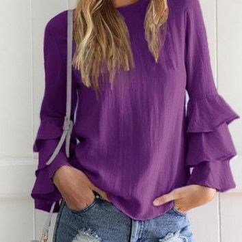 Purple Round Neck Layered Fluted Sleeve Keyhole Button Top