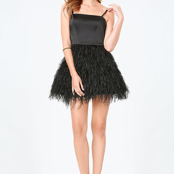 Feather Fit & Flare Dress | bebe