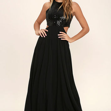 Nothin' But Love Black Sequin Maxi Dress