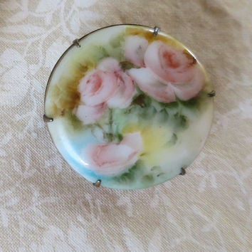 Victorian Antique Rose Brooch Hand Painted Porcelain Gold Setting Dainty Delicate Brooch C Clasp Prong Set Pink Roses Green Blue Accents
