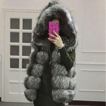 2018 Xulanbaby Winter Women's Coat Faux Fox Fur Vest Patchwork Hooded Faux Fur Vest Oversize Preppy Fur Coat Furry Coat AW164