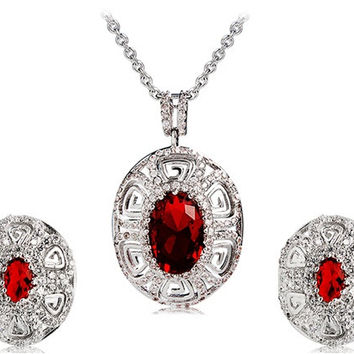 925 Silver Plated Vintage Red Crystal Earrings & Necklace Set