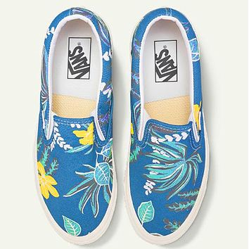 VANS SK8 Hi new logo mix joint canvas shoes men and women casual skateboard shoes blue yellow flower