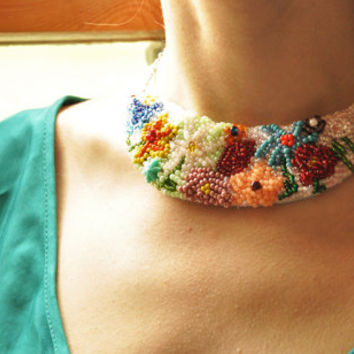 Beaded flower necklace, Artisan bib necklace, Unique bridal gift, Bead art, Shabby chic necklace, OOAK necklace, Hand stitched,Nobias Art