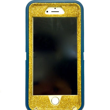 iPhone 6 Plus OtterBox Defender Series Case Glitter Cute Sparkly Bling Defender Series Custom Case  Deep water blue / yellow gold