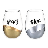 """Yours"" and ""Mine"" Stemless Wine Glasses (Set of 2)"