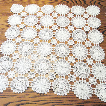 Vintage Crochet Doily, Off White, Square, Hand Crocheted, Centerpiece Doilies