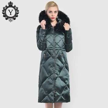 COUTUDI New Winter Women Coat Big Faux Fur X-long Warm Female Parka Coat Shiny Nylon Womens Jacket Clothing Plus Size Parka Lady
