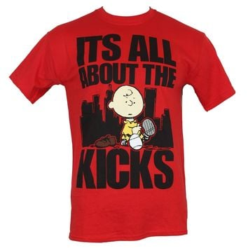 "Peanuts Mens T-Shirt - ""It's All About The Kicks"" Cityscape Charlei Shoe Image"